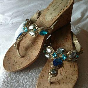 Cynthia Rowley Blue Crystal Wedge Sandals